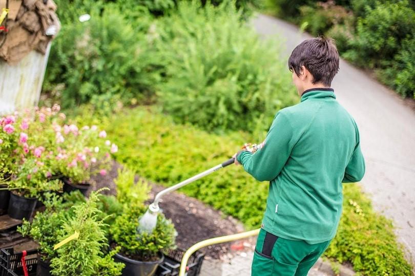 Gärtnerin beim Gießen